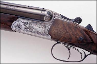 Merkel Engraved Drilling Shotgun (SxS) over rifle Blitz action